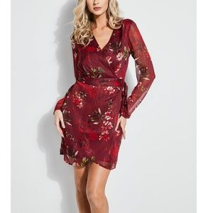 Guess Camila Floral Surplice Belted Party Dress